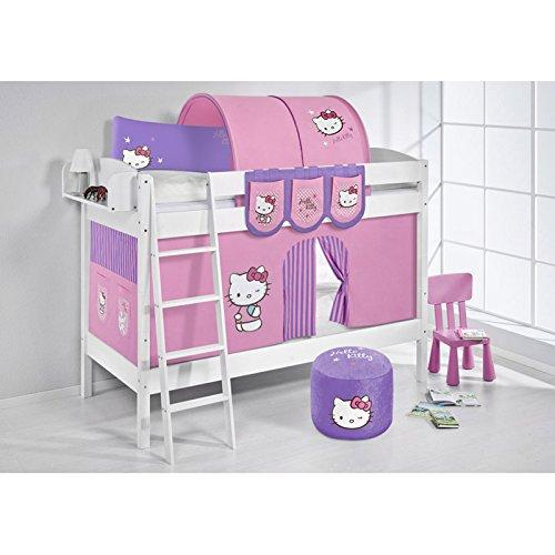 Etagenbett IDA Hello Kitty Lila, mit Vorhang, weiß, Variante 2
