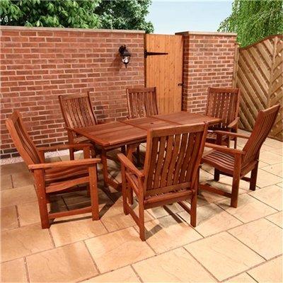 BillyOh Sovereign 1.6m Rectangular Extending 6 Seater Wooden Garden Furniture Set