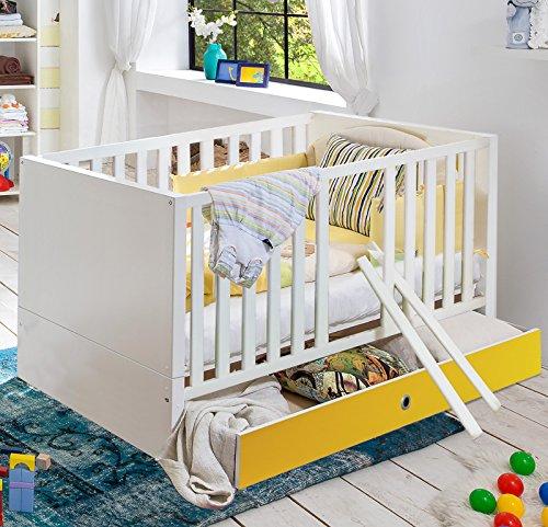 Babybett Set weiß – gelb Babyzimmer Gitterbett mit Schukkasten und Bettseiten