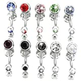 ANDI ROSE Pack of 10 Colorful Jewelry Crystal Navel Balls Belly Button Rings Plugs Body Piercings