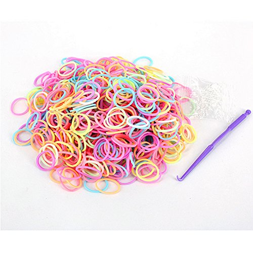 RAINSTORM Loom Rubber Bands Accessory Kit Set for Bracelets with S-clips and Plastic Loom Hook/Lead and Latex Free,Safe for Children/20 Beautiful Colors as Pictures and 600pc Rubber Bands for Each Color/Mix Color 4 - 1
