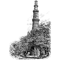 ArtzFolio Victorian Engraving Of The Qutb Minar Delhi India - Extra Large Size 30.0 Inch X 41.6 Inch - UNFRAMED...