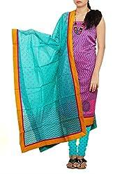 Unnati Silks Women pink-green Rajkot sico salwar kameez dress material