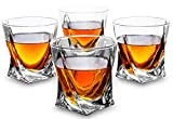 KANARS Rocks Glasses - Set of 4 - Twisted Shaped Old Fashioned Whiskey Glasses - Premium 10 oz Tasting Tumblers for Scotch Drinking and Bourbon Tasting - Luxury Gift Box for Men or Women