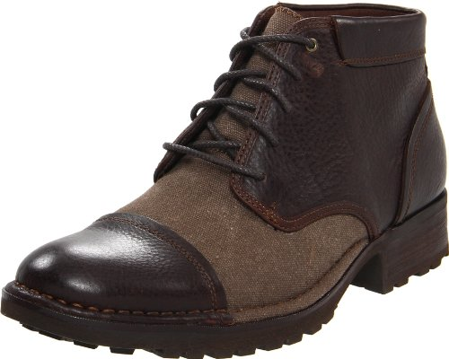 RJ Colt Men's Marquis Boot,Dark Brown Tumbled Full Grain Leather/Washed Canvas,12 D US