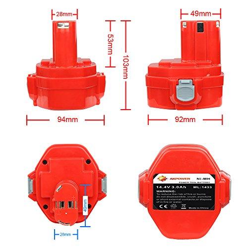 AKPower® Ersatzakku für Makita 1433 14.4V 3000MAH, 1420,1422,1433,1434,1435,1435F, 192.699-A, Ni-MH-Akku