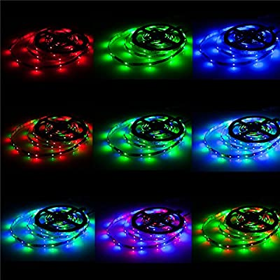 ALED LIGHT® 2x5M (10M in Total) 3528 SMD 600 LED RGB Strip Lights Flexible LED Strip Ribbon With 6A UK Power Supply Adapter +24 Key Colours IR Controller. Decorative LED Strip Lights for Holiday, Event, show exhibition