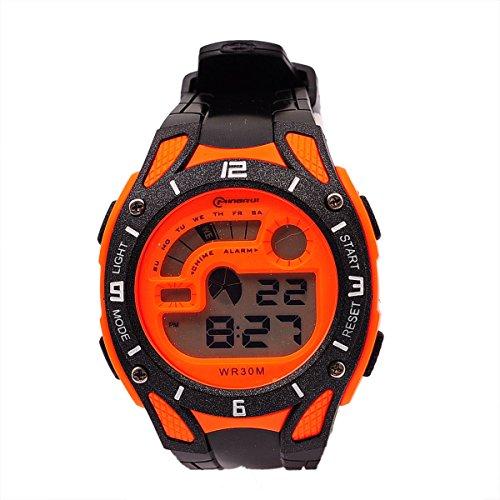8Years - 1 Jungen Armbanduhr Digitaluhr Stoppuhr Wasserdicht Multifunktional Orange