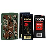 Zippo 28330 Classic Green Matte Camouflage Design Windproof Pocket Lighter with Two Flint Card and One Wick Card
