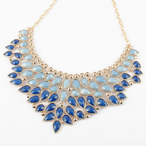Fashion Golden Chain Blue Water Drop Resin Beads Hollow Pendant Bib Statement Necklace