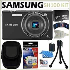 Samsung SH100 14.2MP Wi-Fi Digital Camera with 5X Optical Zoom in Black + 8GB Accessory Kit