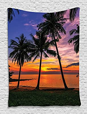 Palms Sunset Beach Tropical View Sea Love Unique Design Digital Printed Tapestry Wall Hanging Wall Tapestry Living Room Bedroom Dorm Decor, Blue Purple Orange Dark Green