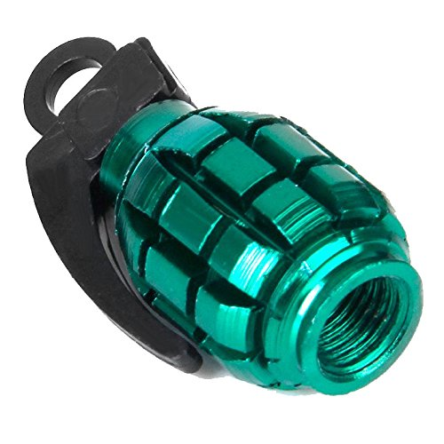 SODIAL(R)2pcs Bicycle Metal Grenade Shaped Bike Cycling Tyre Valve Dust Cap Cover - Green