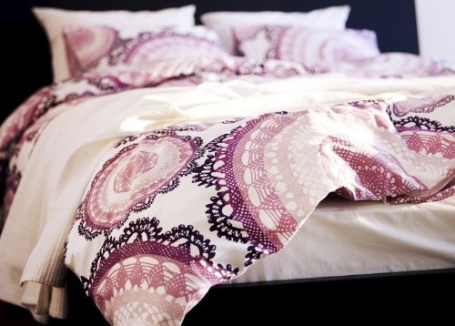 Find Discount Ikea Lyckoax Duvet Cover and 2 Pillowcases Set, White, Lilac Full/queen