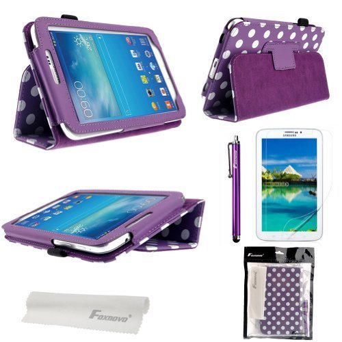 Foxnovo® Polka Dot Hot Flip PU Leather Case Cover for Samsung Galaxy Tab 3 7.0 P3200 / P3210 / T210 / T211 & Stylus Pen & Screen Guard & Cleaning Cloth (Purple)