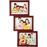Priya Collections Glass 3-in-1 Collage Photo Frame With Frame (49 Cm X 28 Cm X 3 Cm, Brown)