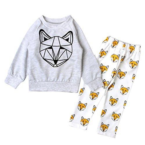 YOUJIA Unisex Baby Fox Printed Long Sleeve Shirts Pants 2pcs Clothing Set Gray 70