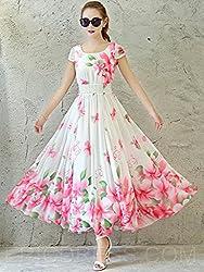 Mahadev Enterprise Fleur Imprimer Expansion col rond manches courtes Maxi Dress ( Semi Stitched )