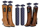 Boot Trees - Boot Shapers - Boot Stands Perfect For Closet Organization - Universal - For Tall Boots - Short Boots - UGG Boots - Cowboy Boots - For Women & Men - Perfect Gift Idea For Birthdays, Mother's Day, Christmas or Anniversary - Plush Fabric - Stylish And Perfect For Boot Organization - Never Again Have Your Boots Falling Over On Each Other, Getting Damaged Or Piled Up In The Closet - One Pair - Comes With Complementary Black Tie-On Wood Tags For Custom Personalization - LIFETIME GUARANTEE - SATISFACTION GUARANTEED Or Your Money Back (SEVERAL COLORS/PATTERNS TO CHOOSE FROM - SELECT BELOW - Navy Blue with White Polkadots