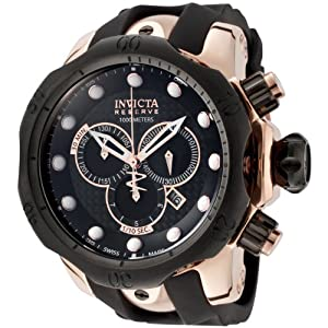 Invicta Men's 0361 Reserve Collection Venom Chronograph Black Polyurethane Watch from Invicta