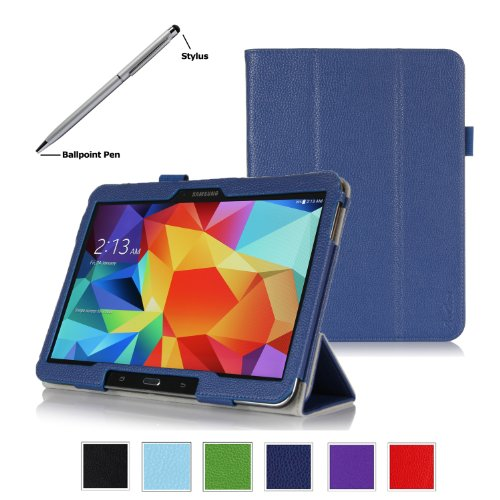 Procase Samsung Galaxy Tab 4 10.1 Tablet Case With Bonus Stylus Pen - Tri-Fold Smart Cover Case For 10 Inch Galaxy Tab 4 (2014 Released), With Auto Sleep/Wake, Hand Strap, Also Compatible With Galaxy Tab 3 10.1 (Navy, Dark Blue)
