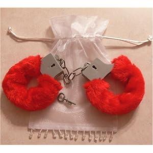Sexy Soft Red Steel Fuzzy Furry Handcuffs Fur Trimmed Sex Toy Hand Cuffs