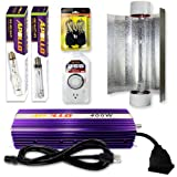 Apollo 400w Watt HPS MH Grow Light w/ Dimmable Ballast + Air Cool Hood Reflector + Rope Ratchet and Accessories