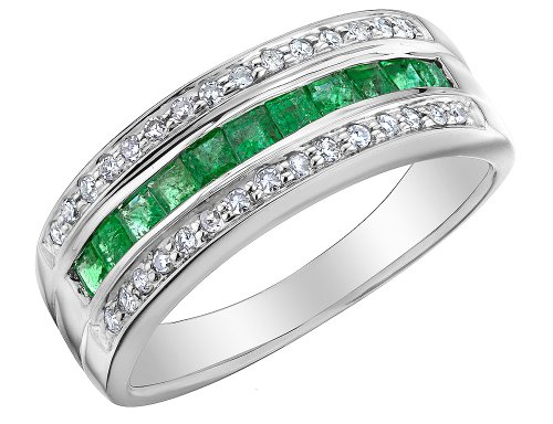 Emerald Ring with Diamonds 7/10 Carat (ctw) in 10K White Gold