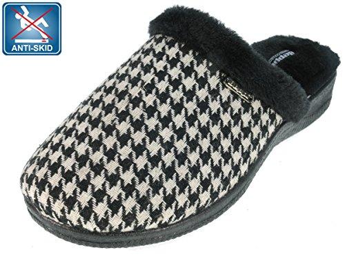 Beppi Mocassini da donna pantofole Nero/Bianco a quadretti, nero (nero), 37 EU