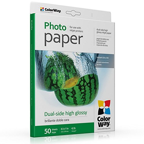 ColorWay High Glossy Double Sided Photo Paper, 8.5x11 inches, 50 sheets, 42 lb, 155gsm. Print dual-side photos. Compatible with all inkjet printers. (PGD155050LT) (Printer Double Side compare prices)