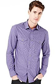 Autograph Pure Cotton Slim Fit Mini Gingham Checked Shirt
