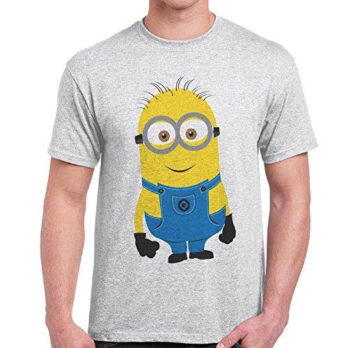 CHEMAGLIETTE! - Maglietta Uomo T-Shirt Con Stampa Colorata Divertente Cattivissimo Me Minions 2, Colore: Cenere, Taglia: XL