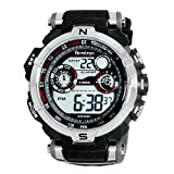 Armitron Men's 408231RDGY Silver-Tone and Black Chronograph Digital Sport Watch