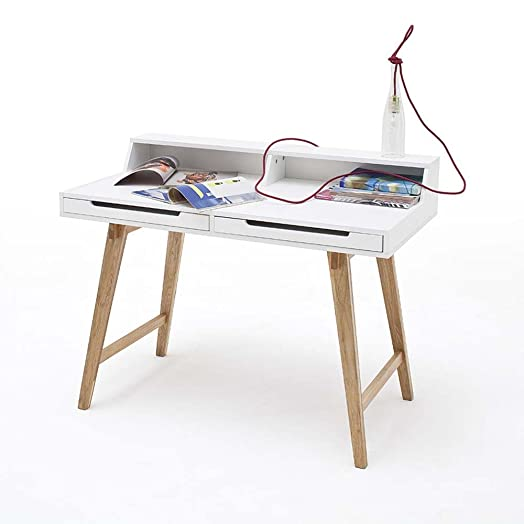 Design di scrivania di tavolo tif, Bianco/Faggio, 110x 58cm