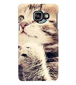 Printvisa Premium Back Cover Standing Cat Pic Design For Samsung Galaxy A3 (2016)::Samsung Galaxy A3 (2016) Duos with dual-SIM card slots