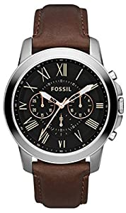Black Grant Chronograph Leather Watch by Fossil