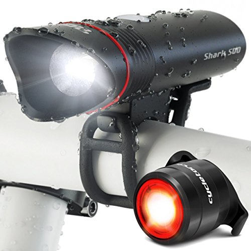SUPERBRIGHT Bike Light USB Rechargeable LED - FREE Taillight INCLUDED- Cycle Torch Shark 500 Set - 500 Lumens - Fits ALL Bikes, Hybrid, Road, MTB, Easy Install & Quick Release (Road Bike Frame Set compare prices)