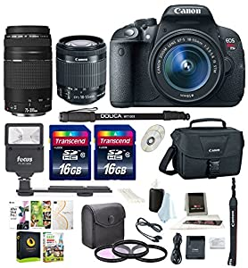 Canon Rebel T5i w/ 18-55mm and 75-300mm lenses + Promotional Holiday Bundle