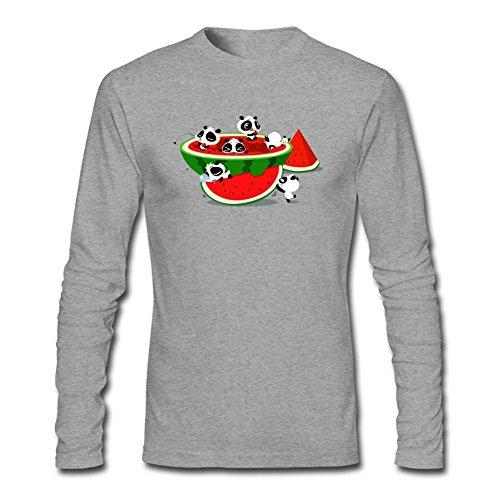 XingL Men's Watermelon Anime Panda Cute Art Design Long Sleeve Cotton T Shirt (Az Central J compare prices)
