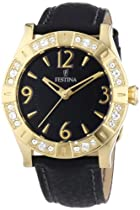 Festina Ladies Quartz Watch with Black Dial Analogue Display and Black Leather Strap F16580/4