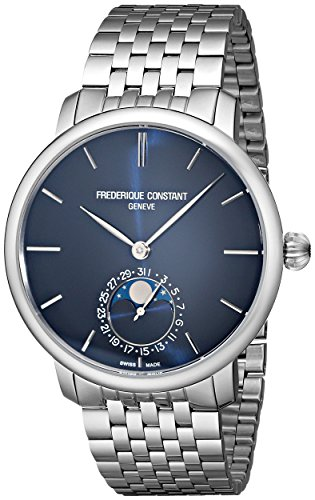 Frederique Constant Men'S Fc705N4S6B Slim Line Analog Display Swiss Automatic Silver Watch