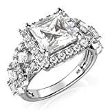 Sz 7 Sterling Silver 925 Princess Cut CZ Cubic Zirconia Halo Engagement Ring
