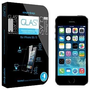 SPIGEN SGP SGP09435 GLAS.t Premium Tempered Glass Screen Protector for iPhone 5 (0.4mm) - 1 Pack - Retail Packaging - Oleophobic Coating