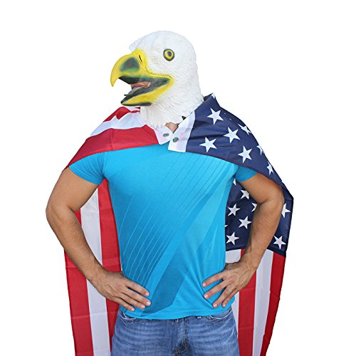HDE Rubber Latex Eagle Head Face Mask Patriotic US American Flag Cape Costume