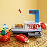 Kids Supermarket Cash Register for Pretend Play - Lights and Sound Cash Register with Scanner,credit Card, Working Mike, and Play Food - Great Gift for Kids and Toddlers