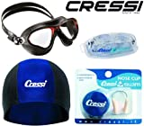 Cressi Flash Goggles Swim Set, Underwater Swimming Cap with Nose Clip Swim Mask Package – Adult