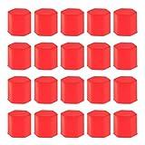 【ノーブランド 品】20個 車のホイール タイヤネジのパックは、ボルトカバー ナットキャップラグ 17ミリメートル 赤 タイヤネジ保護