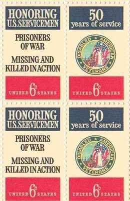Disabled Veterans/POW & MIA Set of 4 x 6 Cent US Postage Stamps NEW Scot 1421-2