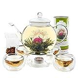 Teabloom Blooming Tea Set: Glass Teapot, 12 Flowering Tea Sampler, Teapot Warmer, 4 Double-Wall Glasses & Loose Tea Infuser - Complete Flowering Tea Gift Set
