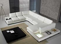 Big Sale T35 - White Bonded Leather Sectional Sofa Set with Light